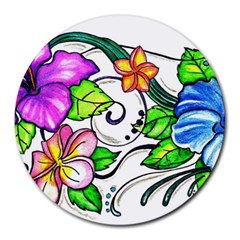 Tropical Hibiscus Flowers Round Mousepads by EverIris
