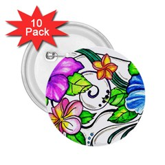 Tropical Hibiscus Flowers 2 25  Buttons (10 Pack)  by EverIris
