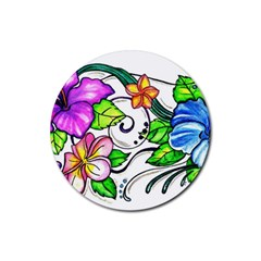 Tropical Hibiscus Flowers Rubber Coaster (round)  by EverIris