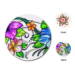 Tropical Hibiscus Flowers Playing Cards (round)  by EverIris