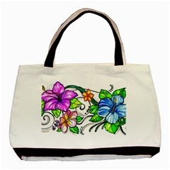 Tropical Hibiscus Flowers Basic Tote Bag by EverIris