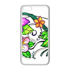 Tropical Hibiscus Flowers Apple Iphone 5c Seamless Case (white) by EverIris
