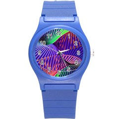 Colorful Rainbow Helix Round Plastic Sport Watch (s) by designworld65