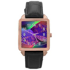 Colorful Rainbow Helix Rose Gold Leather Watch  by designworld65
