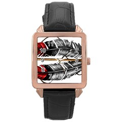 Order Of The Arrow Rose Gold Leather Watch  by EverIris