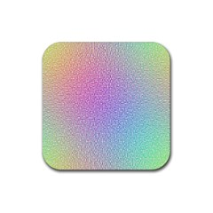 Rainbow Colorful Grid Rubber Coaster (square)  by designworld65