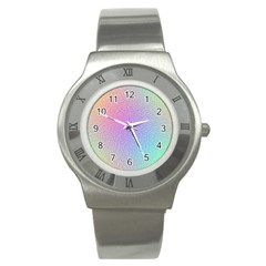 Rainbow Colorful Grid Stainless Steel Watch by designworld65