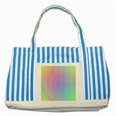Rainbow Colorful Grid Striped Blue Tote Bag by designworld65