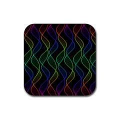 Rainbow Helix Black Rubber Square Coaster (4 Pack)  by designworld65