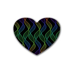 Rainbow Helix Black Rubber Coaster (heart)  by designworld65