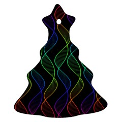 Rainbow Helix Black Christmas Tree Ornament (2 Sides) by designworld65