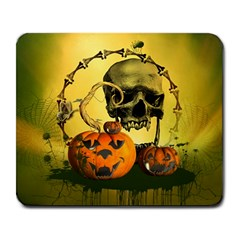 Halloween, Funny Pumpkins And Skull With Spider Large Mousepads by FantasyWorld7
