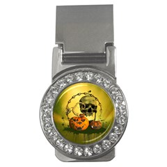 Halloween, Funny Pumpkins And Skull With Spider Money Clips (cz)  by FantasyWorld7