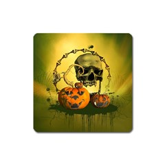 Halloween, Funny Pumpkins And Skull With Spider Square Magnet by FantasyWorld7