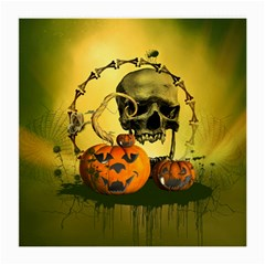Halloween, Funny Pumpkins And Skull With Spider Medium Glasses Cloth by FantasyWorld7