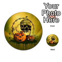 Halloween, Funny Pumpkins And Skull With Spider Multi Purpose Cards (round)  by FantasyWorld7