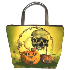 Halloween, Funny Pumpkins And Skull With Spider Bucket Bags by FantasyWorld7