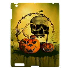 Halloween, Funny Pumpkins And Skull With Spider Apple Ipad 3/4 Hardshell Case by FantasyWorld7