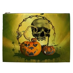 Halloween, Funny Pumpkins And Skull With Spider Cosmetic Bag (xxl)  by FantasyWorld7