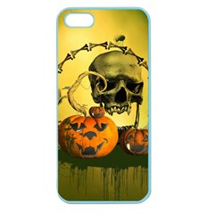 Halloween, Funny Pumpkins And Skull With Spider Apple Seamless Iphone 5 Case (color) by FantasyWorld7