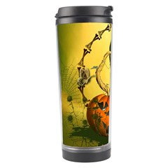 Halloween, Funny Pumpkins And Skull With Spider Travel Tumbler