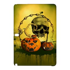 Halloween, Funny Pumpkins And Skull With Spider Samsung Galaxy Tab Pro 12 2 Hardshell Case by FantasyWorld7