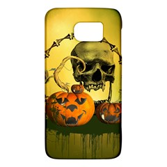 Halloween, Funny Pumpkins And Skull With Spider Galaxy S6 by FantasyWorld7