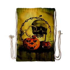 Halloween, Funny Pumpkins And Skull With Spider Drawstring Bag (small) by FantasyWorld7