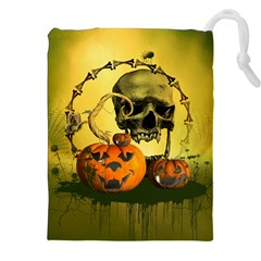 Halloween, Funny Pumpkins And Skull With Spider Drawstring Pouches (xxl) by FantasyWorld7