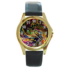 Abstract Art, Colorful, Texture Round Gold Metal Watch by AnjaniArt