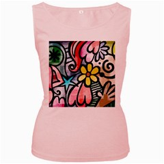 Abstract Doodle Women s Pink Tank Top by AnjaniArt