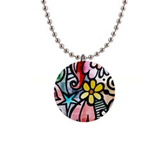 Abstract Doodle Button Necklaces
