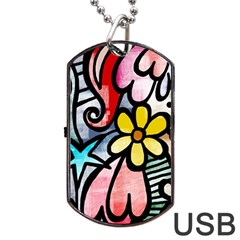Abstract Doodle Dog Tag Usb Flash (one Side) by AnjaniArt