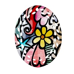 Abstract Doodle Oval Filigree Ornament (2 Side)