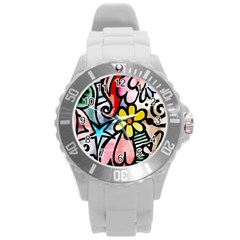 Abstract Doodle Round Plastic Sport Watch (l)