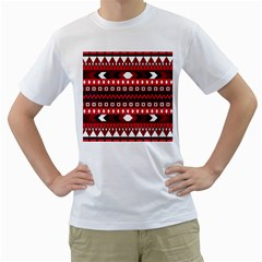 Asterey Red Pattern Men s T Shirt (white) (two Sided) by AnjaniArt