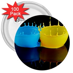 Bicolor Paintink Drop Splash Reflection Blue Yellow Black 3  Buttons (100 Pack)