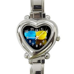 Bicolor Paintink Drop Splash Reflection Blue Yellow Black Heart Italian Charm Watch