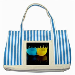 Bicolor Paintink Drop Splash Reflection Blue Yellow Black Striped Blue Tote Bag