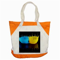 Bicolor Paintink Drop Splash Reflection Blue Yellow Black Accent Tote Bag by AnjaniArt