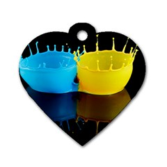 Bicolor Paintink Drop Splash Reflection Blue Yellow Black Dog Tag Heart (two Sides)