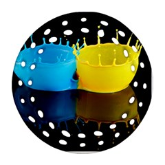 Bicolor Paintink Drop Splash Reflection Blue Yellow Black Ornament (round Filigree)  by AnjaniArt