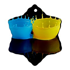 Bicolor Paintink Drop Splash Reflection Blue Yellow Black Ornament (snowflake)  by AnjaniArt