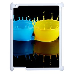 Bicolor Paintink Drop Splash Reflection Blue Yellow Black Apple Ipad 2 Case (white) by AnjaniArt