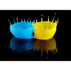 Bicolor Paintink Drop Splash Reflection Blue Yellow Black Birthday Cake 3d Greeting Card (7x5)
