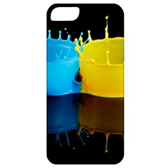 Bicolor Paintink Drop Splash Reflection Blue Yellow Black Apple Iphone 5 Classic Hardshell Case by AnjaniArt