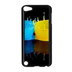 Bicolor Paintink Drop Splash Reflection Blue Yellow Black Apple Ipod Touch 5 Case (black)