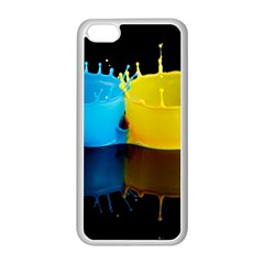 Bicolor Paintink Drop Splash Reflection Blue Yellow Black Apple Iphone 5c Seamless Case (white)