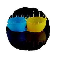 Bicolor Paintink Drop Splash Reflection Blue Yellow Black Standard 15  Premium Flano Round Cushions