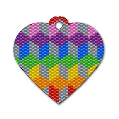 Block Pattern Kandi Pattern Dog Tag Heart (two Sides) by AnjaniArt